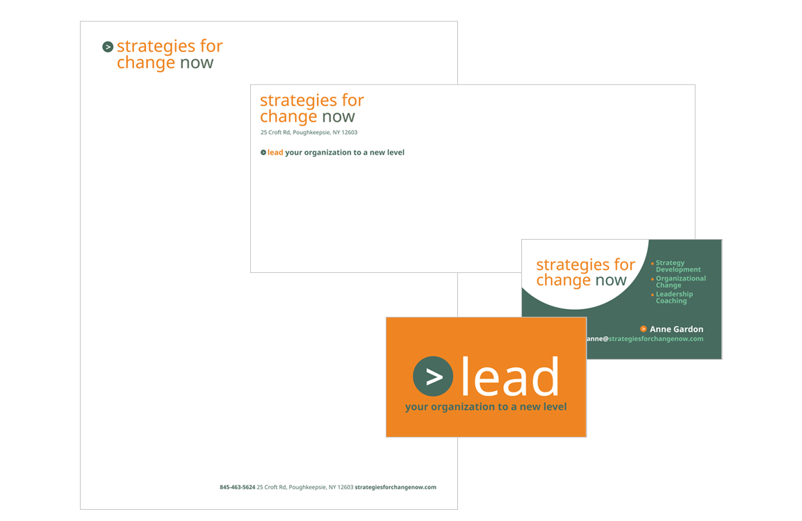 photo of stationery for Strategies for Change Now