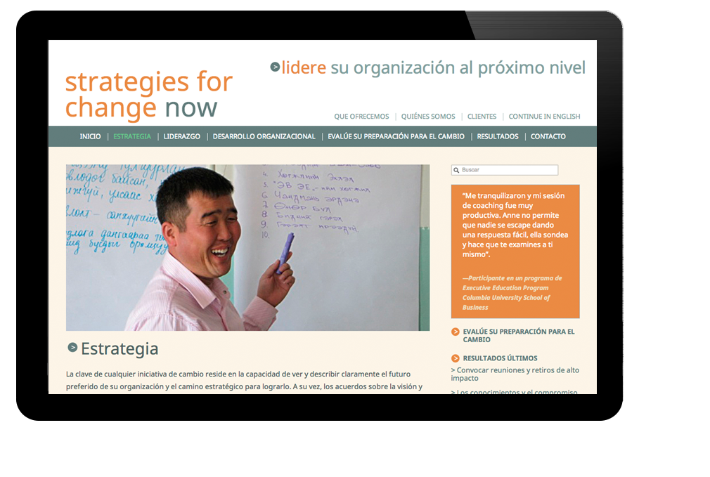 Photo of website for Strategies for Change Now
