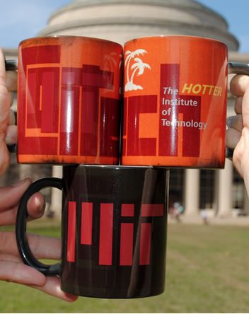 photo of CalTech Mug that changes display when filled with hot liquid