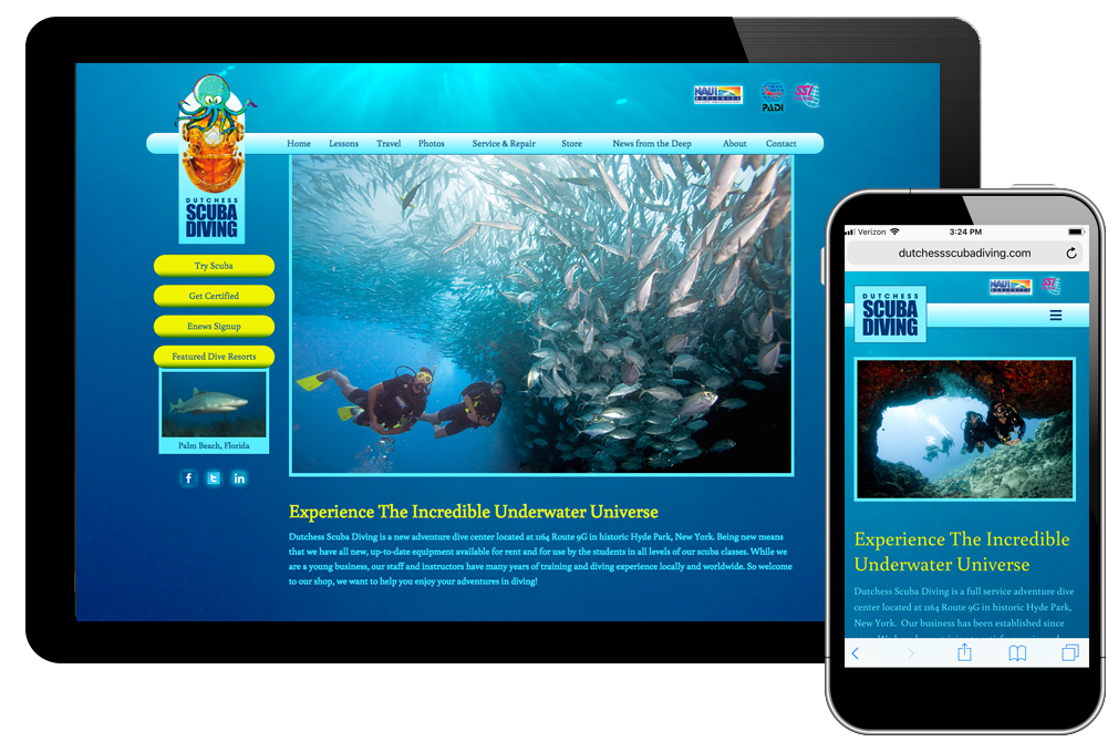 Photo of website for Dutchess Scuba Diving