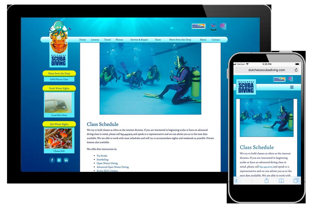 Photo of website for Dutchess Scuba Diving