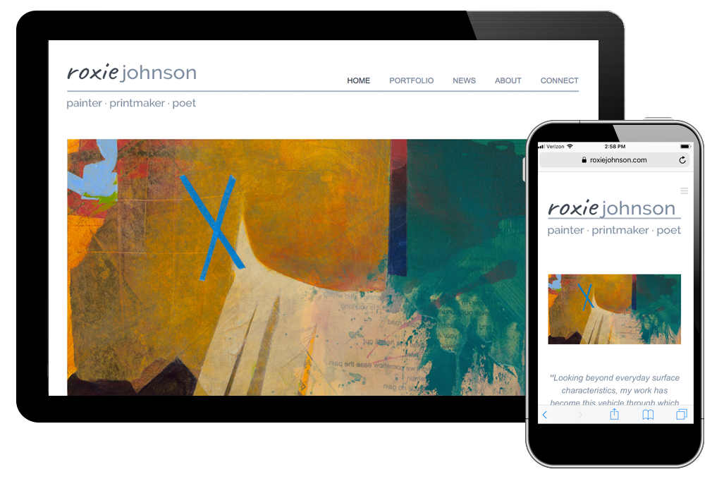 Photo of website for Roxie Johnson