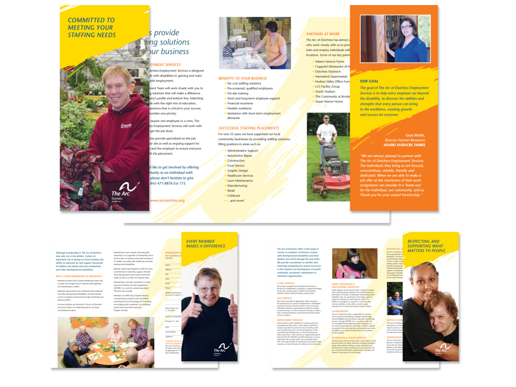 The Arc of Dutchess developed a suite of brochures in order to target three distinct audiences: potential clients, donors, and corporate participants in their work program.