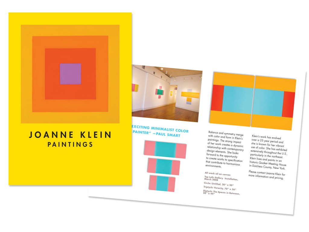 This single-fold brochure format ideally showcases this contemporary artist's work.