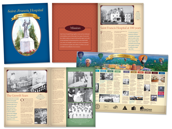 The 100-year anniversary inspired the antique-inspired theme and color scheme. Dozens of historical photographs made it a meaningful keepsake gift for hospital employees.