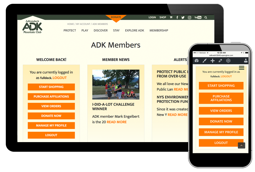 photo of website for Adirondack Mountain Club
