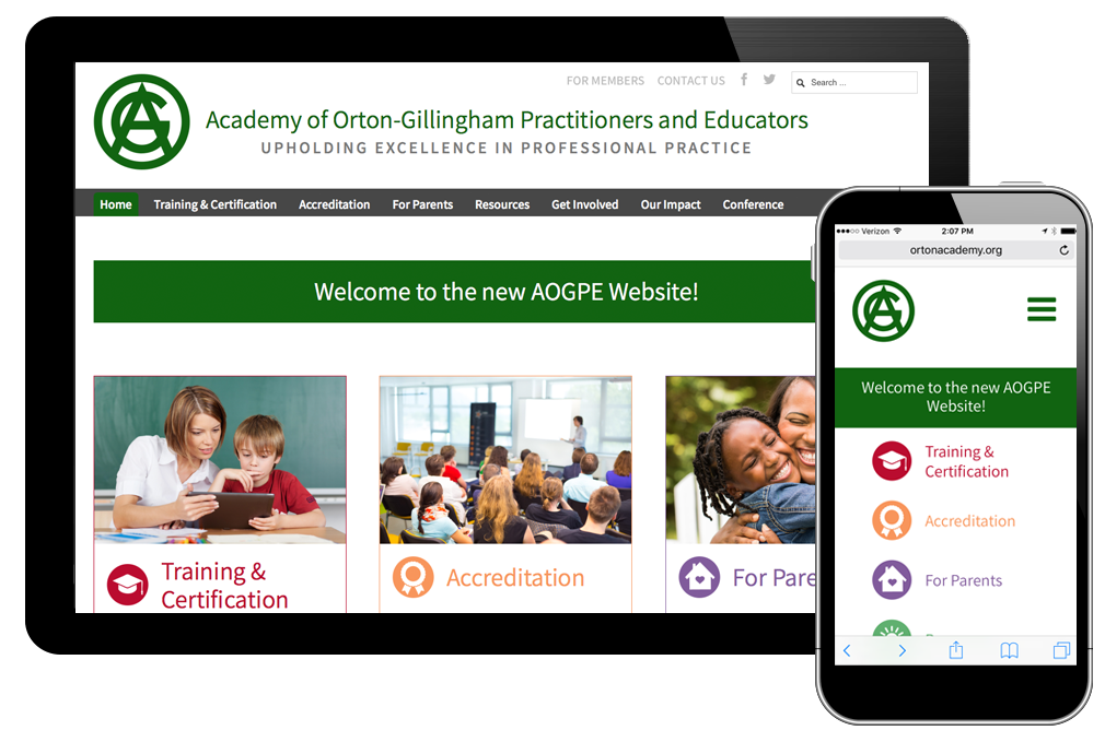 Photo of website for Academy of Orton-Gillingham Practitioners & Educators
