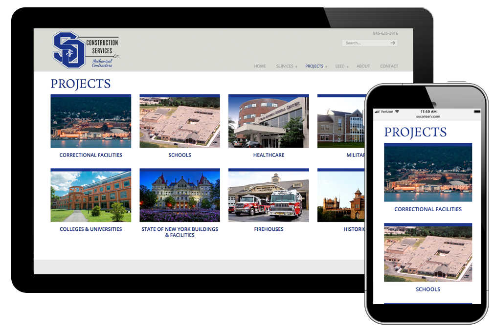 Photo of website for S&O Construction