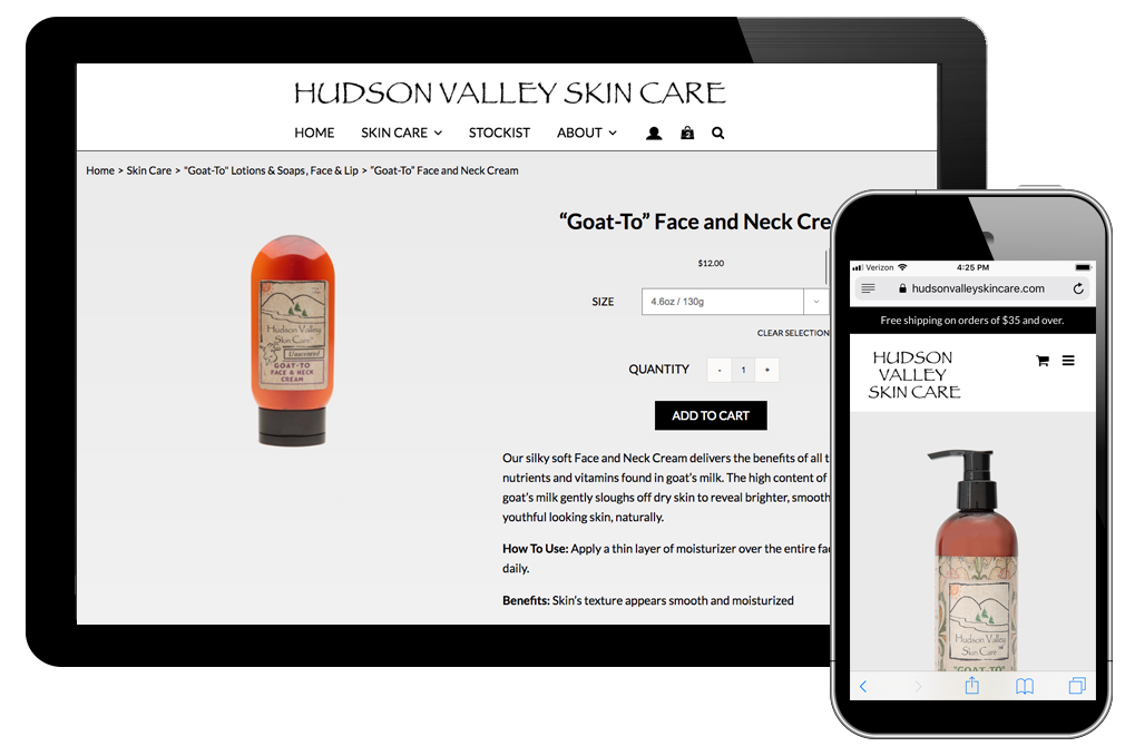 photo of website for Hudson Valley Skin Care