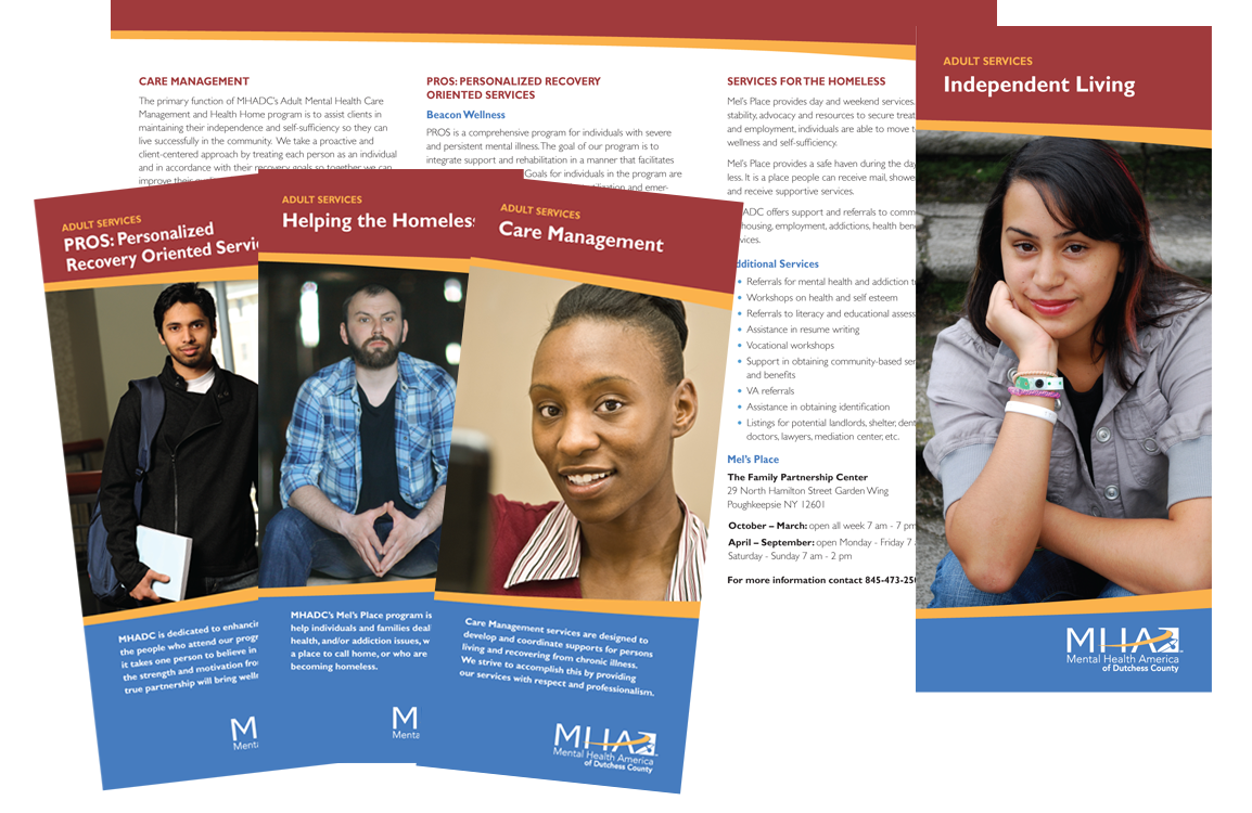 Photo of brochures for Mental Health America of Dutchess County