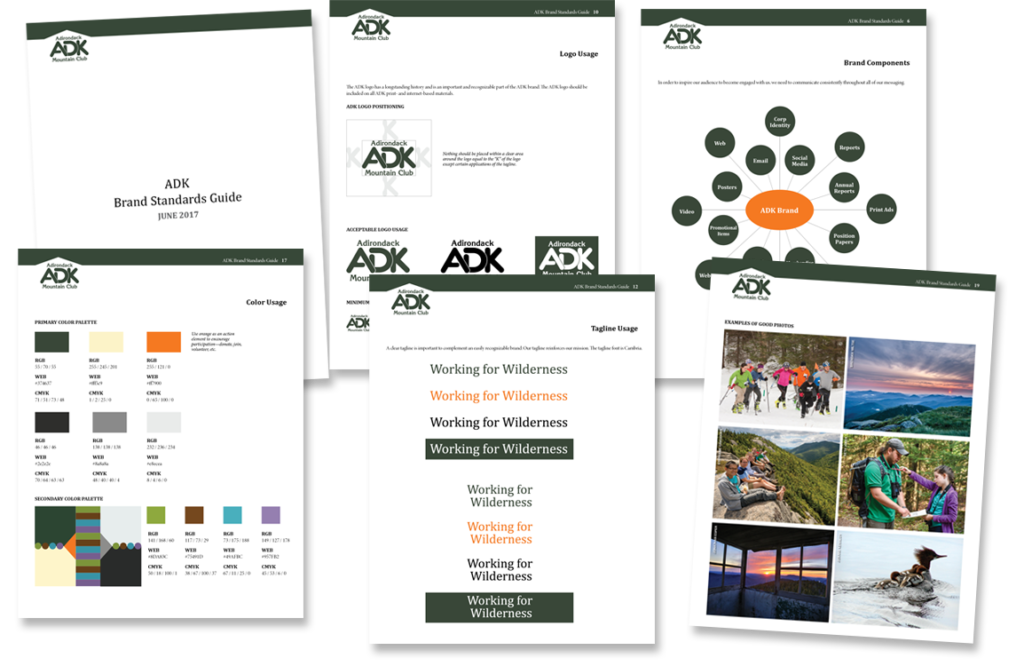 photo of brand standards guide for Adirondack Mountain Club