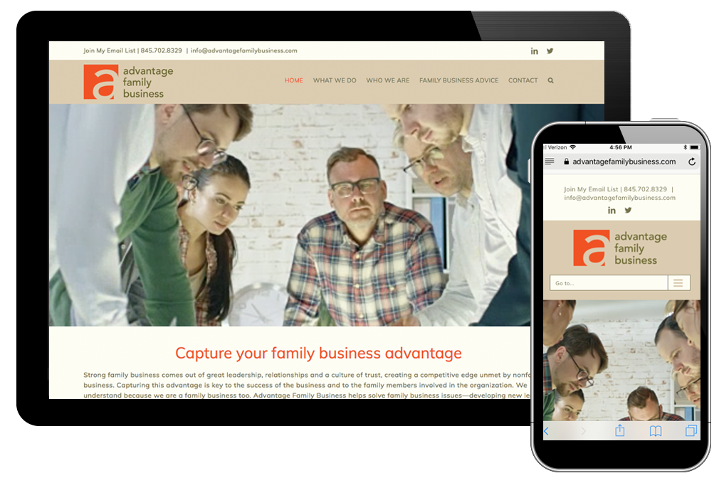 Photo of website for Advantage Family Business