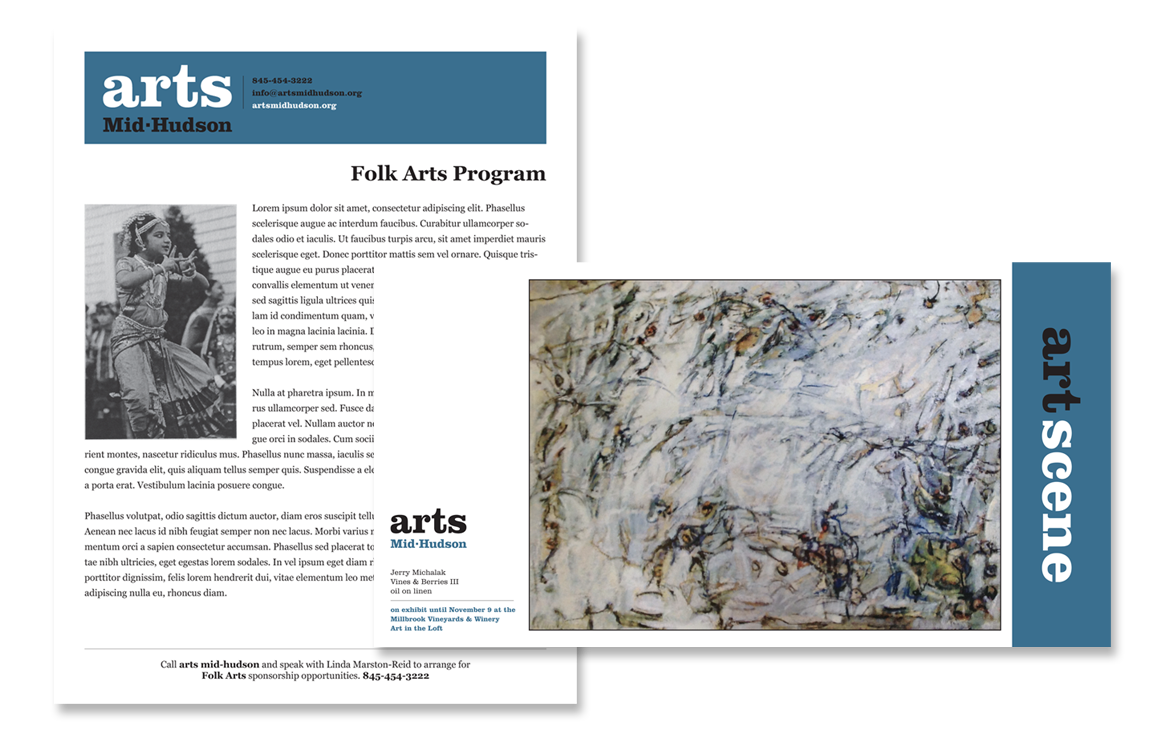 photo of flyer and post card for Arts Mid-Hudson