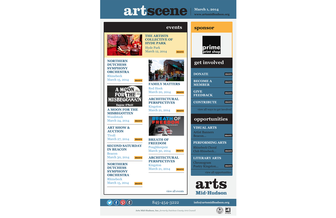 photo of email template for Arts Mid-Hudson