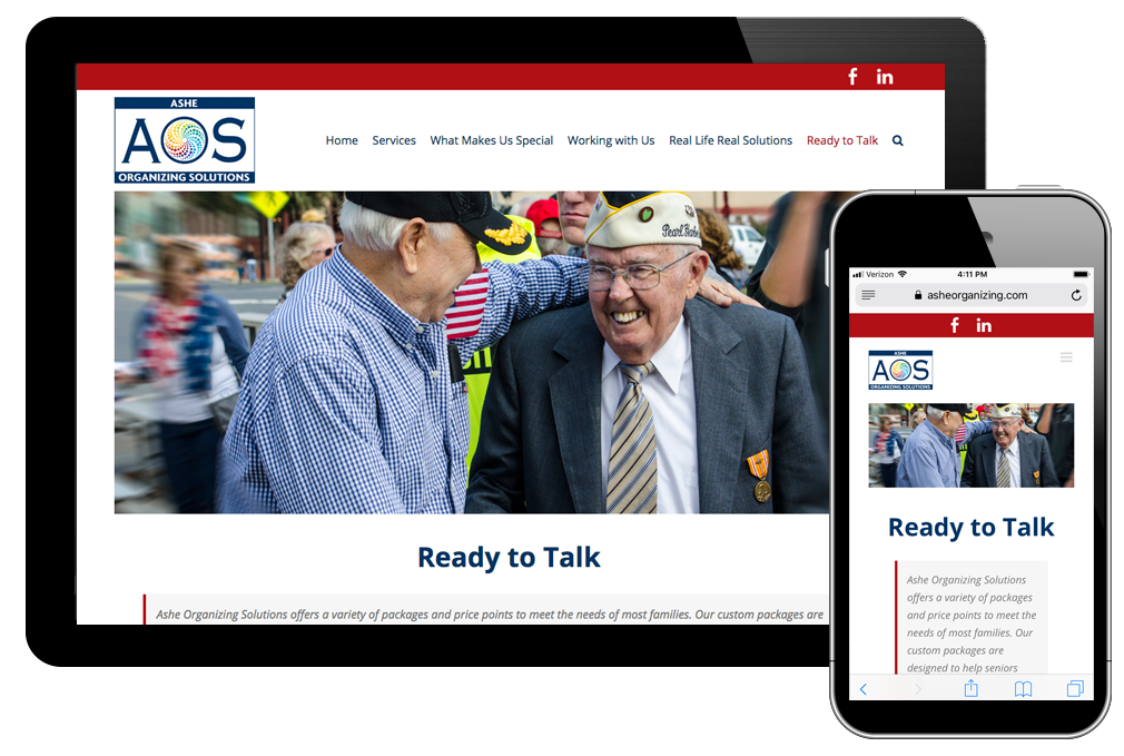 Photo of website for Ashe Organizing Solutions