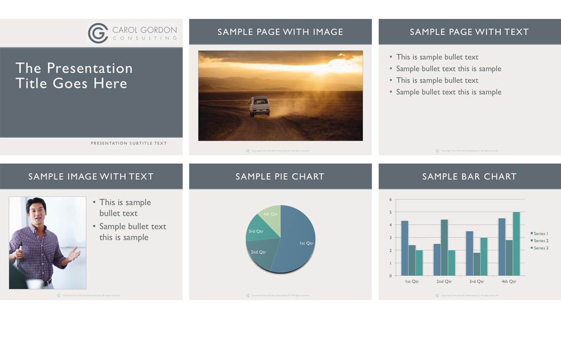Photo of powerpoint template pages for Carol Gordon Consulting