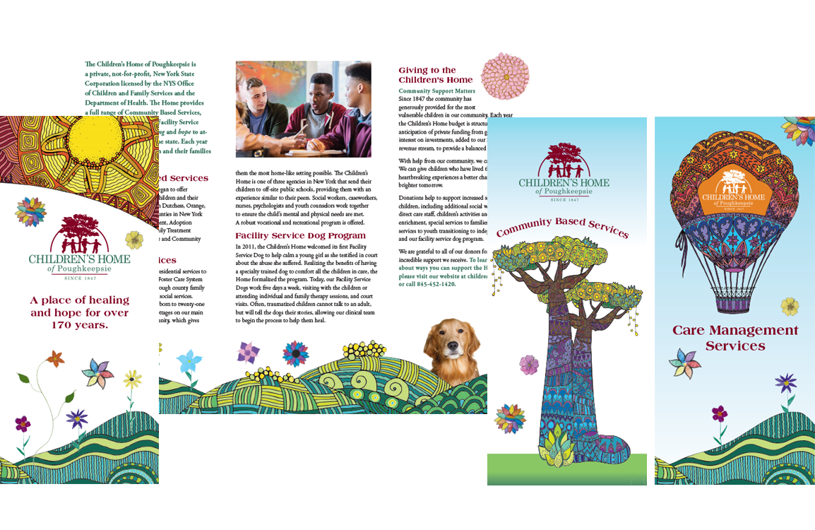 photo of 3 brochures for Children's Home of Poughkeepsie