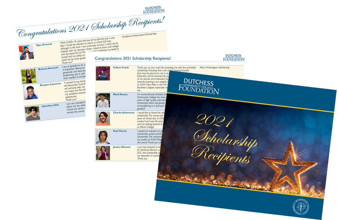 photo of cover and inside pages of the 2021 Scholarship Recipients brochure from Dutchess Community College Foundation