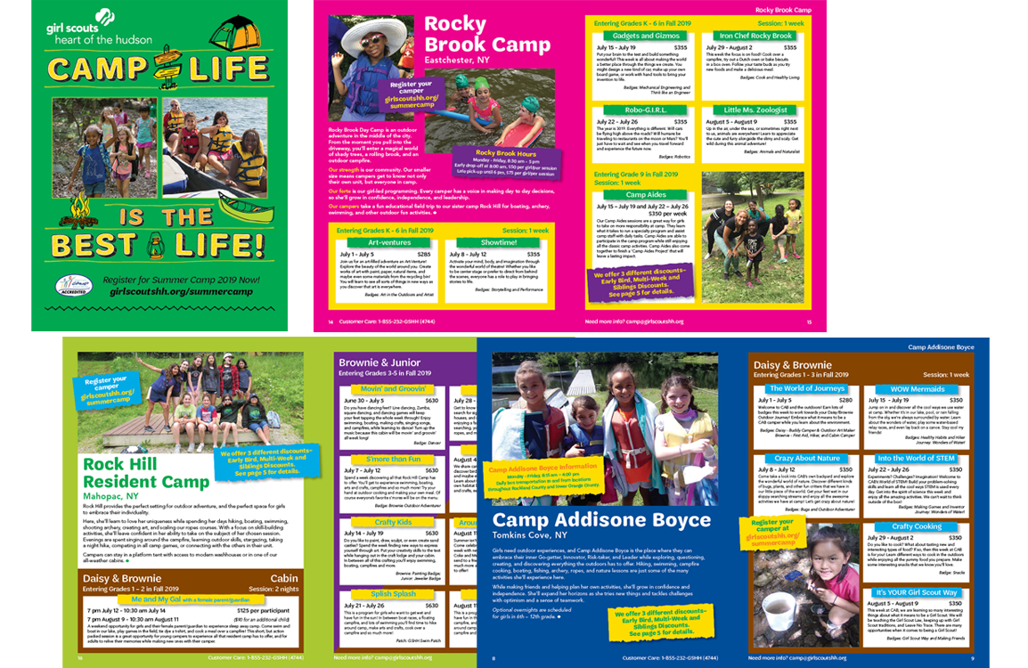 photo of summer camp brochure for Girl Scouts Heart of Hudson links to https://www.fulldeckdesign.com/print-3/
