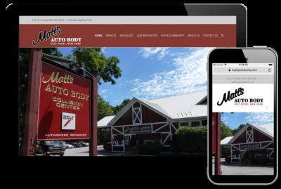 Photo of website for Matt's Auto Body