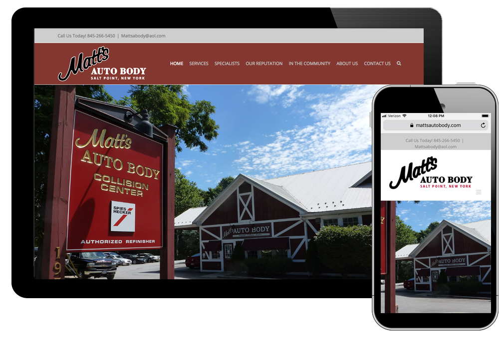 Photo of website for Matt's Auto Body