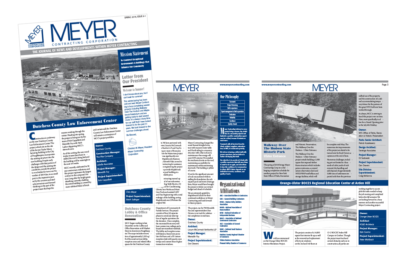 photo of newsletter for Meyer Contracting