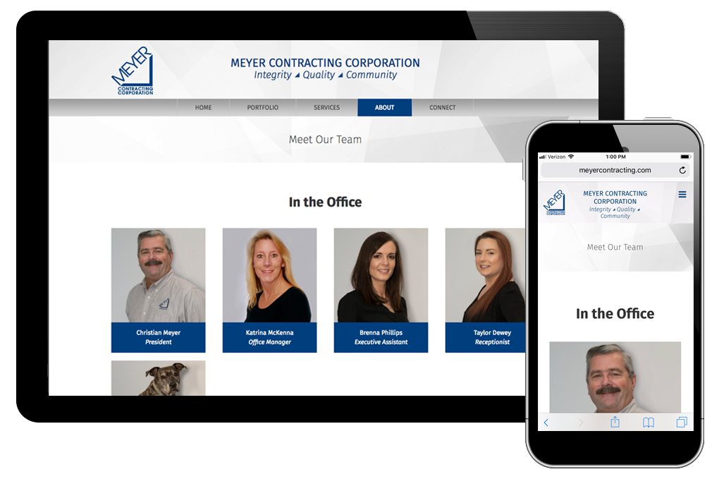 Photo of website for Meyer Contracting