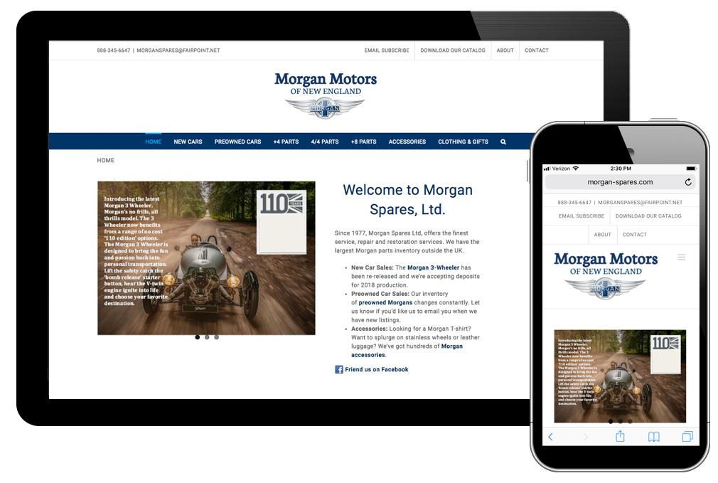 Photo of website for Morgan Motors
