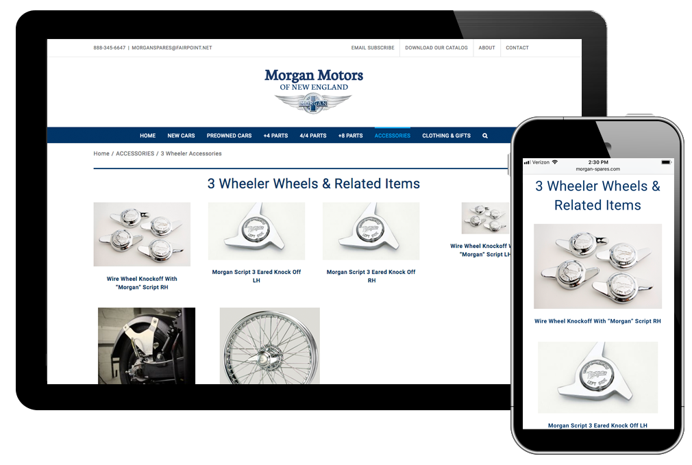 Photo of website for Morgan Motors