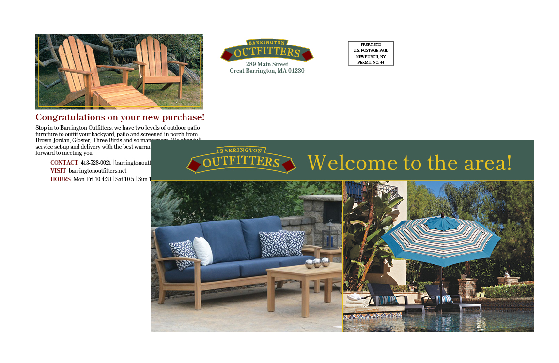 photo of Barrington Outfitters post card welcoming new homeowners