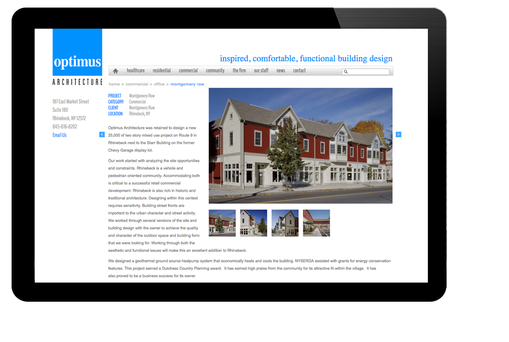 Photo of website for Optimus Architecture