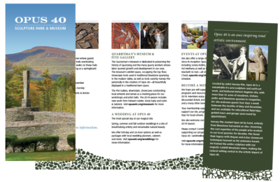 Trifold brochure for Opus 40 showing photos of their site