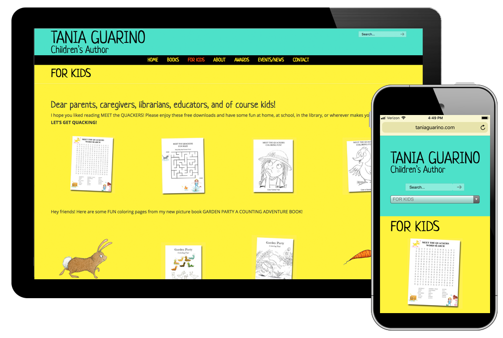 photo of website for Tania Guarino