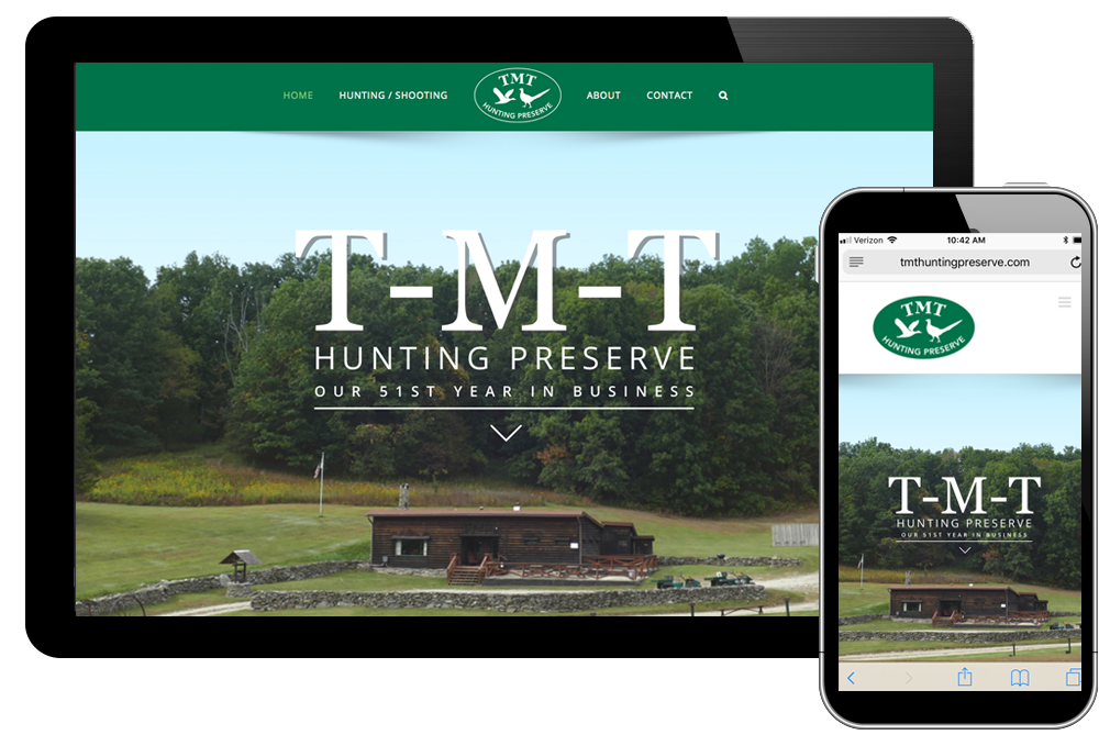 Photo of website for TMT Hunting Preserve