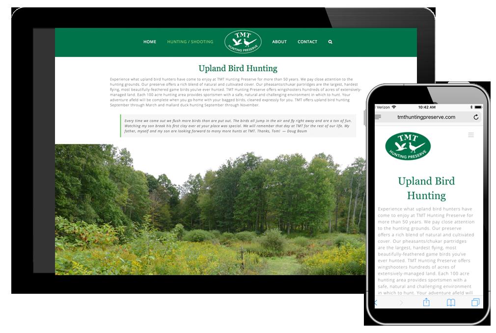 Photo of website for TMT Hunting Preserve