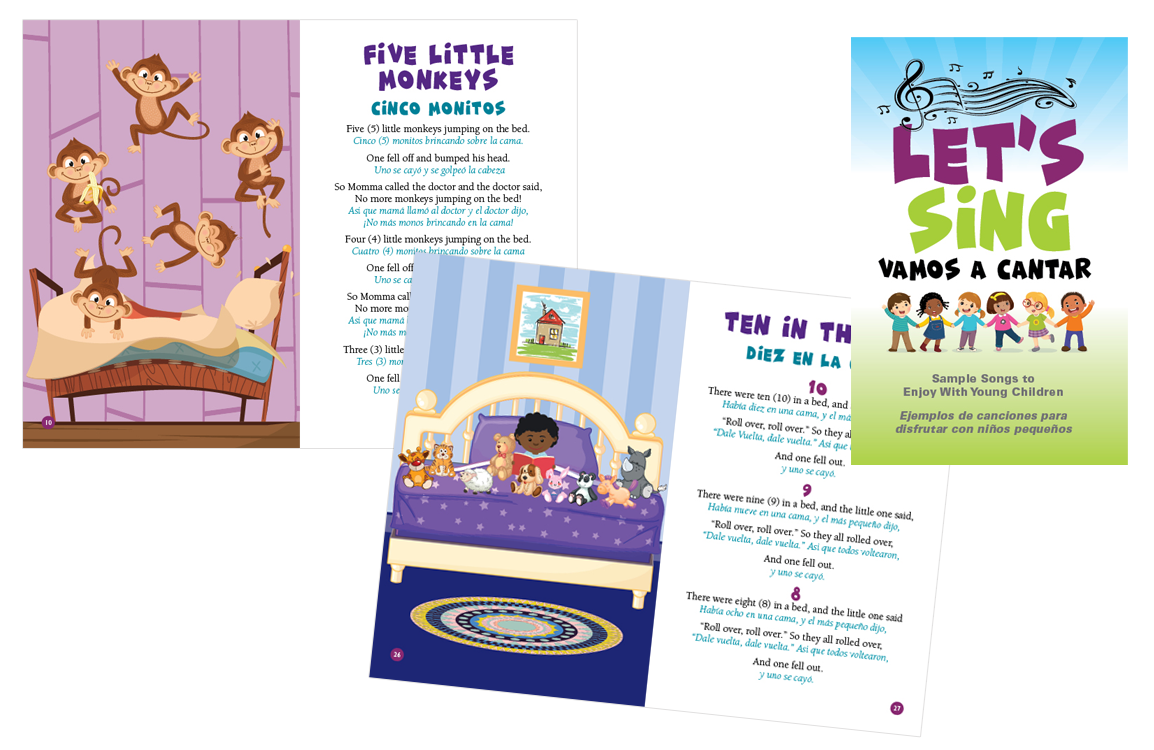 image of pages from the Let's Sing song book in Spanish and English