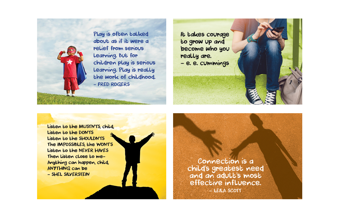 Inspiration cards developed by Orange County Parents in support of children