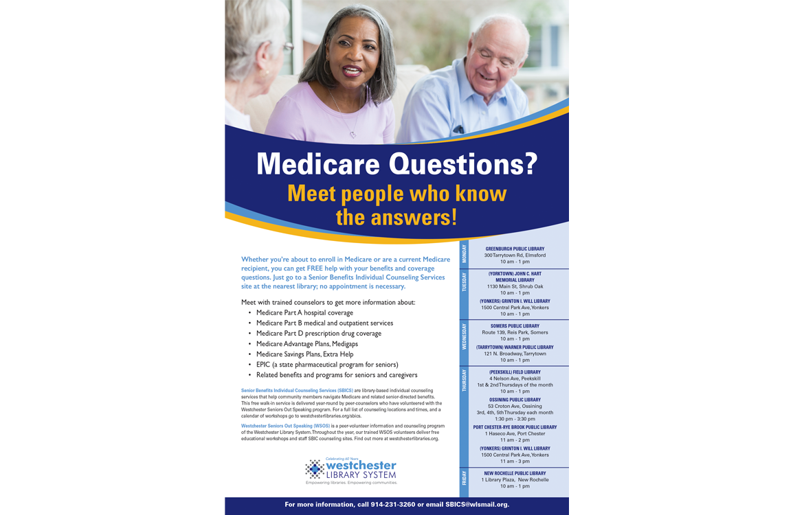 Image of poster with title Medicare Questions? Meet people who know the answers