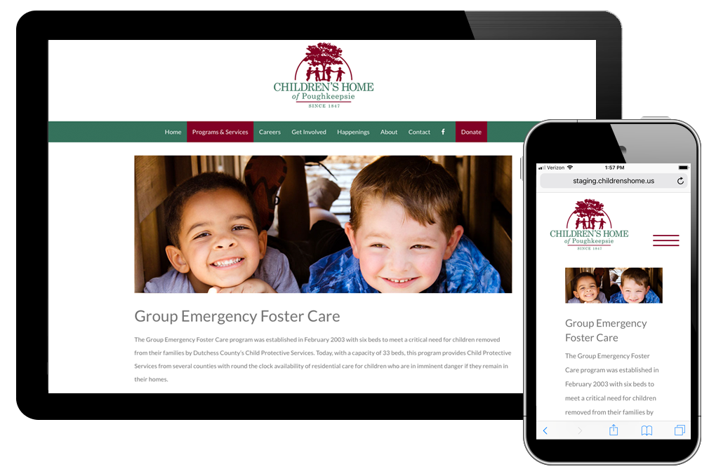 Photo of foster care page on the Children's Home website
