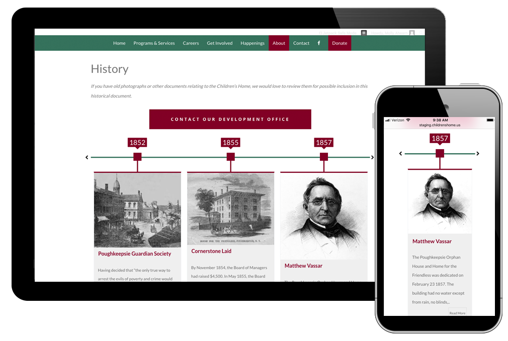 Photo of history timeline page on the Children's Home website