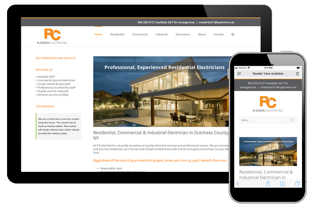 Photo of home page on R Costa Electric website