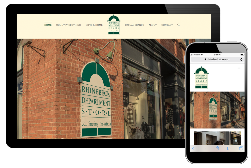 Photo of home page on Rhinebeck Department Store website