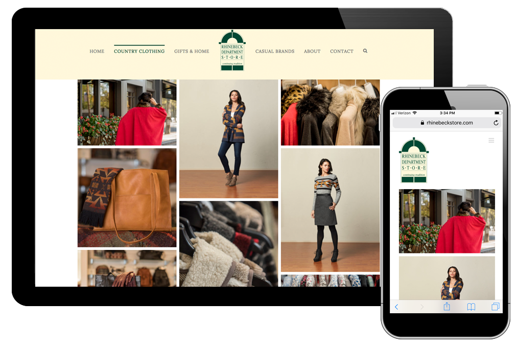 Photo of women's clothing page on Rhinebeck Department Store website