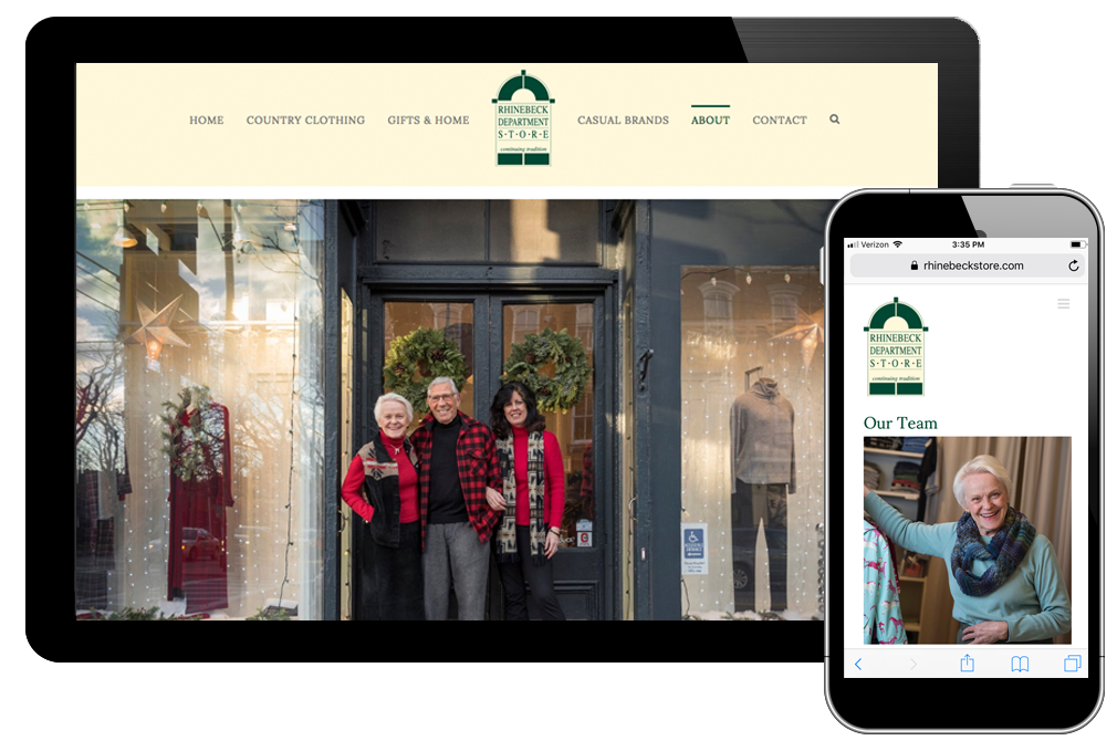 Photo of about page on Rhinebeck Department Store website