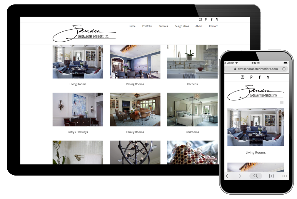 Photo of portfolio main page for Sandra Oster Interiors website
