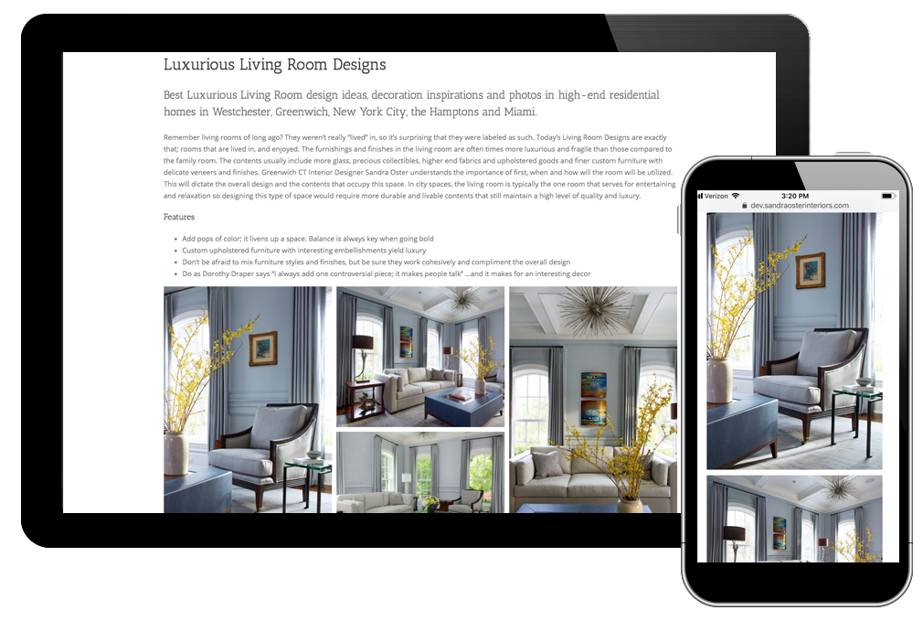Photo of living rooms page for Sandra Oster Interiors website