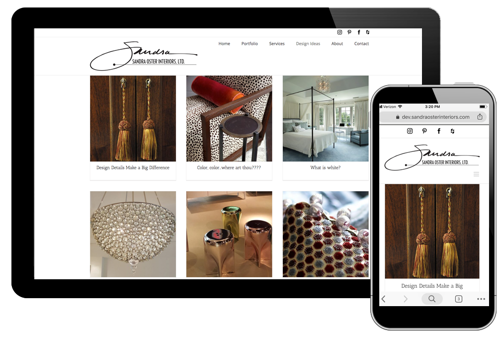 Photo of design ideas page for Sandra Oster Interiors website