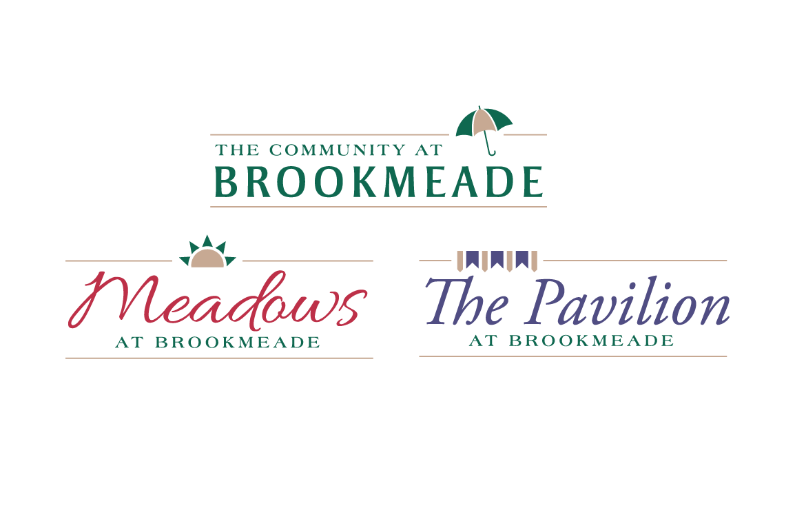 Logos for the Community at Brookmeade, Meadows at Brookmeade and The Pavilion at Brookmeade