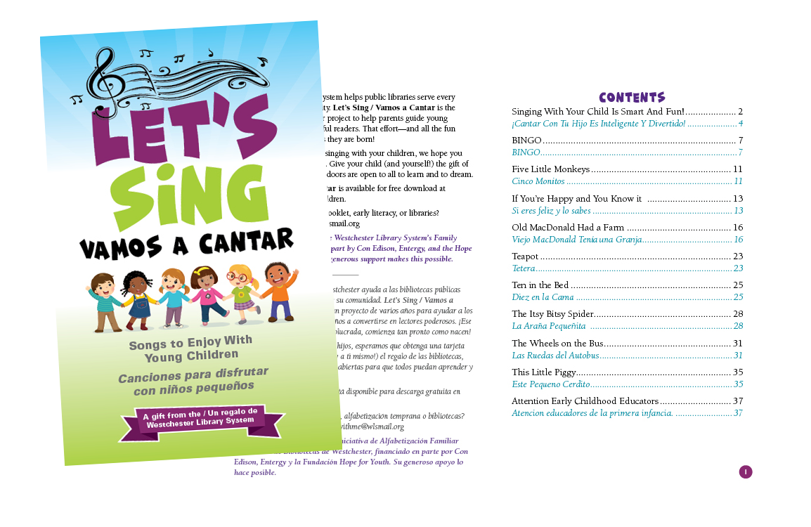 photo of illustration and lyrics to The Cover of Let's Sing a bilingual song book