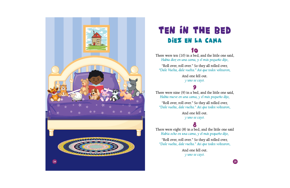 photo of illustration and lyrics to Ten in the Bed